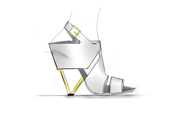 Sketch of Slingback Sandal with Architectural Heel by ABCENSE