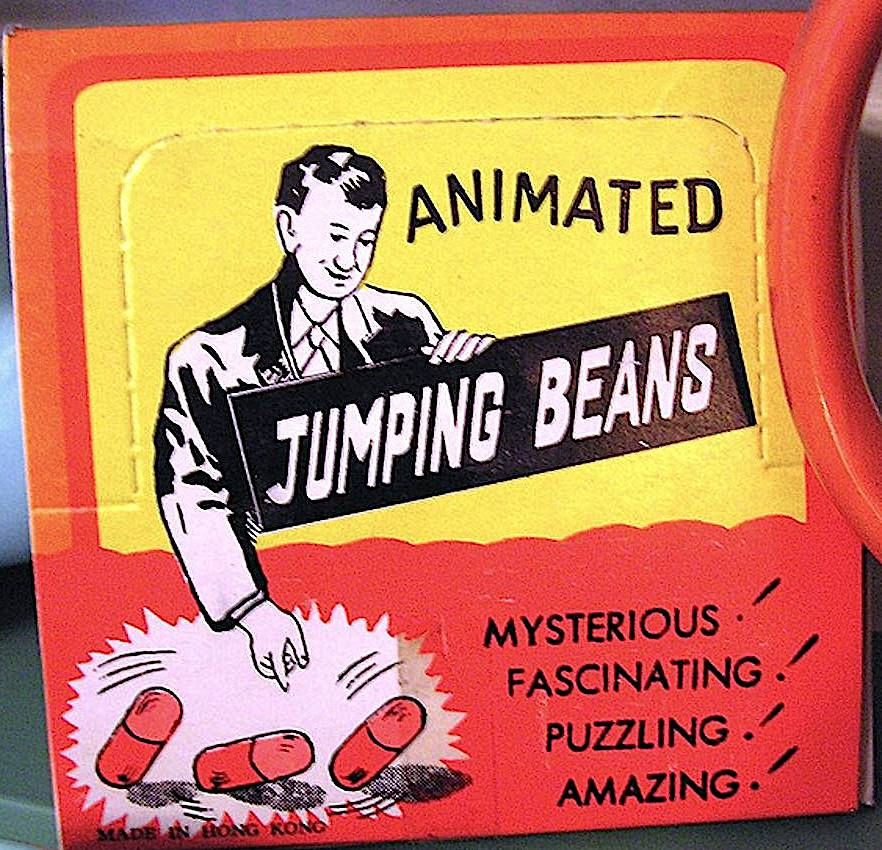Mexican jumping beans, a color photograph of the package