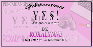 GIVEAWAY YES 2017 BY ROXALYNNE