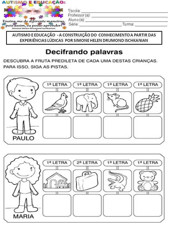 Extremamente ATIVIDADES - AUTISMO E EDUCAÇÃO A CONSTRUIÇÃO DO CONHECIMENTO A  US17