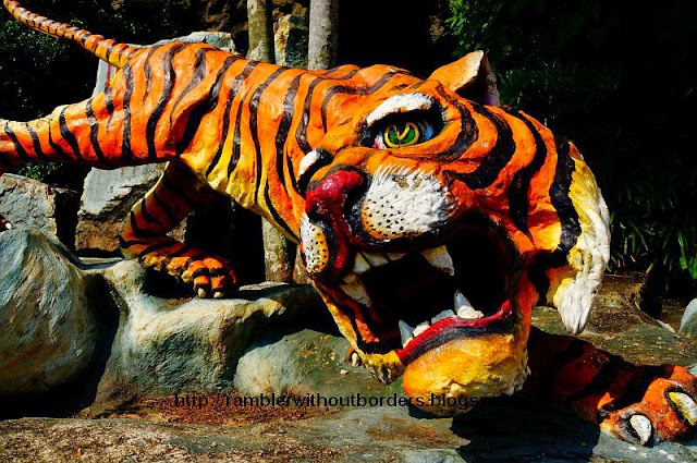 Tiger sculpture in Haw Par Villa, Singapore