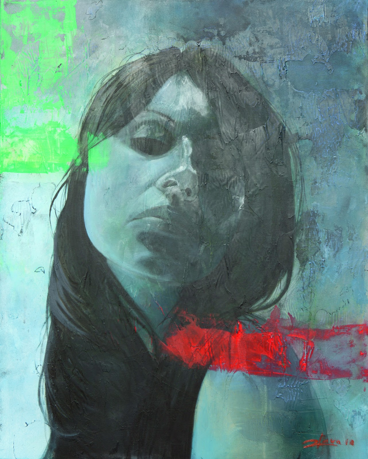 María Azul. Técnica mixta al óleo sobre lienzo. 100cm x 80cm