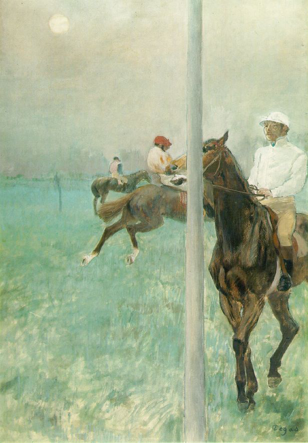Jockeys Before the Start with Flagpole by Edgar Degas