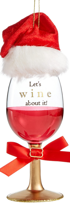 Holiday Lane Red Wine Glass with Hat Ornament, Created for Macy's