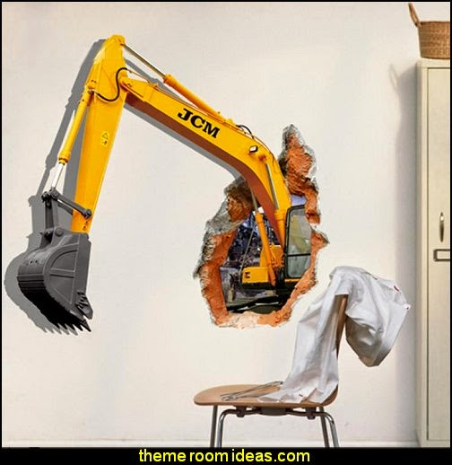3D Excavator Wall Sticker