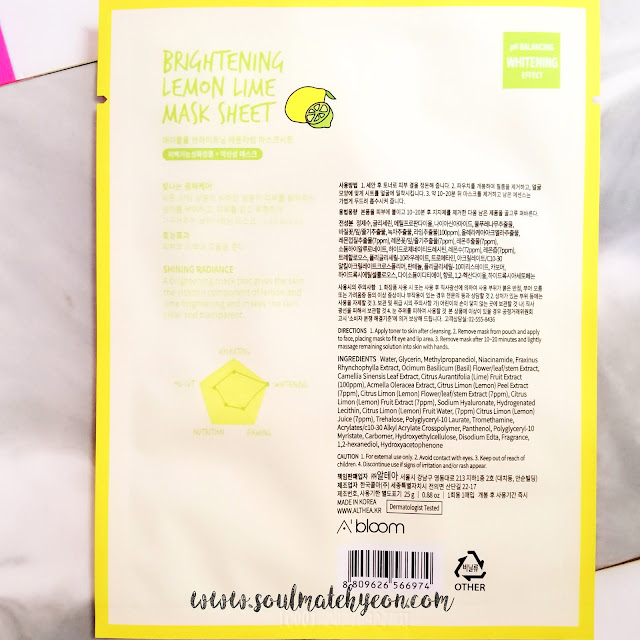 A'Bloom's Refreshing Skin Mask Pack (Lemon Lime)