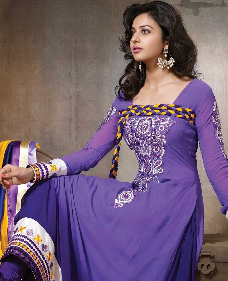 Rakul Preet Photos In Embroidery Georgette Purple Anarkali Dress