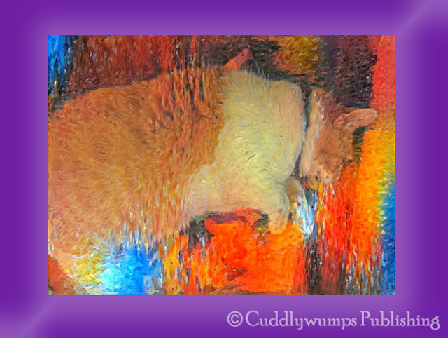 Webster on his kitty mat_Monet V #Dreamscope