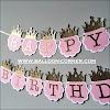 Bunting Banner HAPPY BIRTHDAY Bentuk Mahkota Glitter