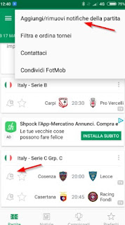 Notifiche Push FotMob app