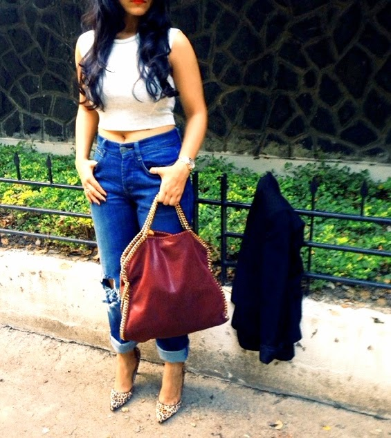 Crop Top and Boyfriend Jeans with Stella McCartney Falabella Bag