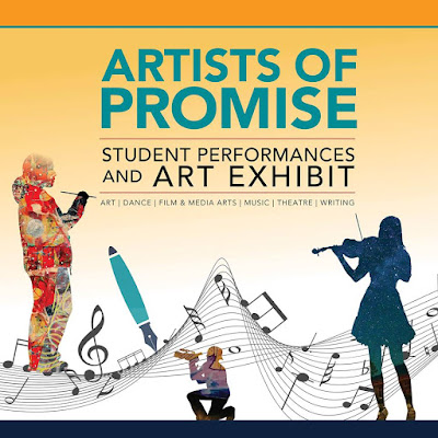 Poster for Artists of Promise, illustrations of performers and artistic cultural icons.