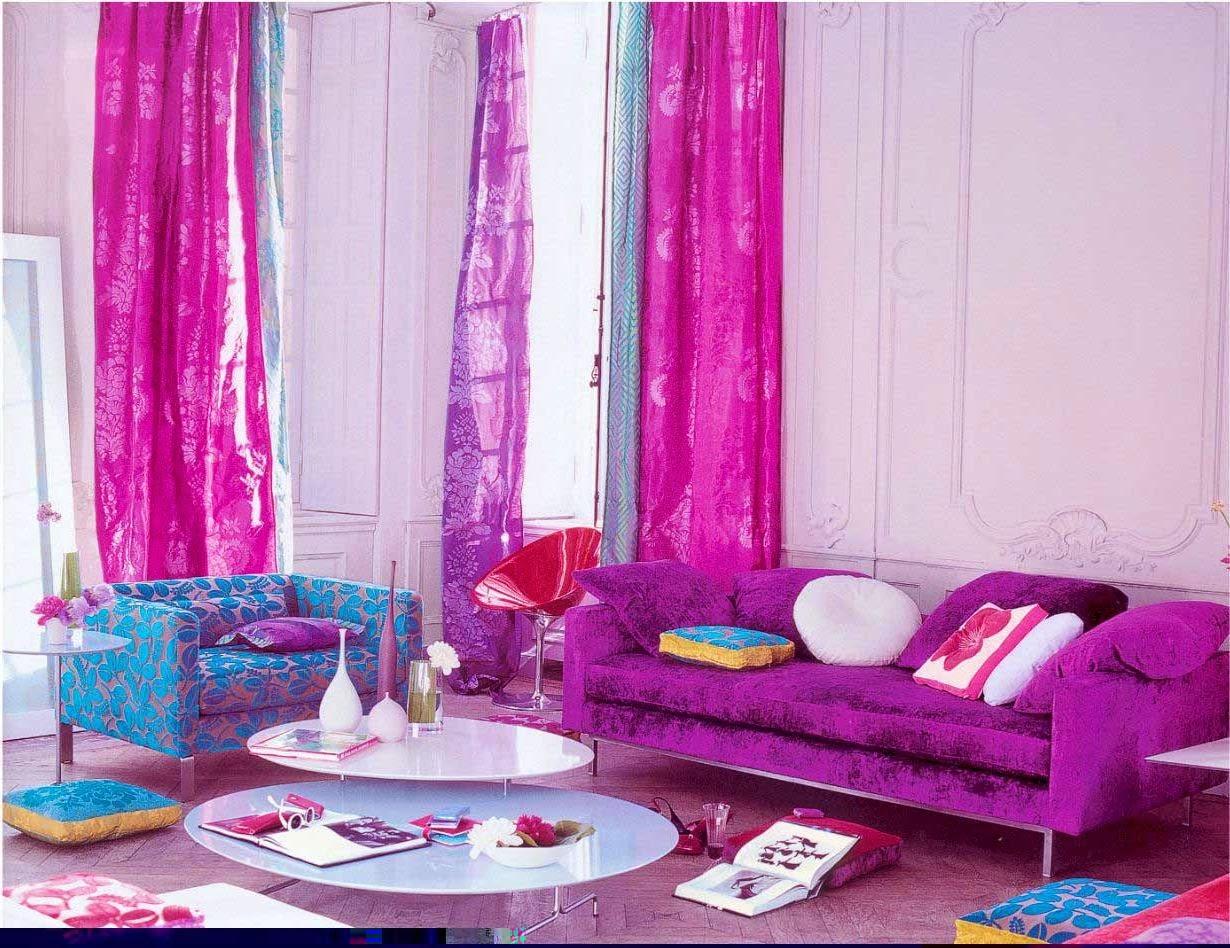 sala de estar blanco violeta
