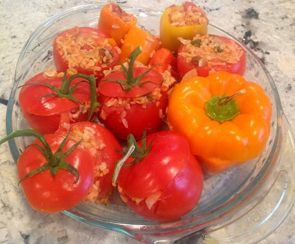 vegan and gluten freevstuffed tomatoes and peppers