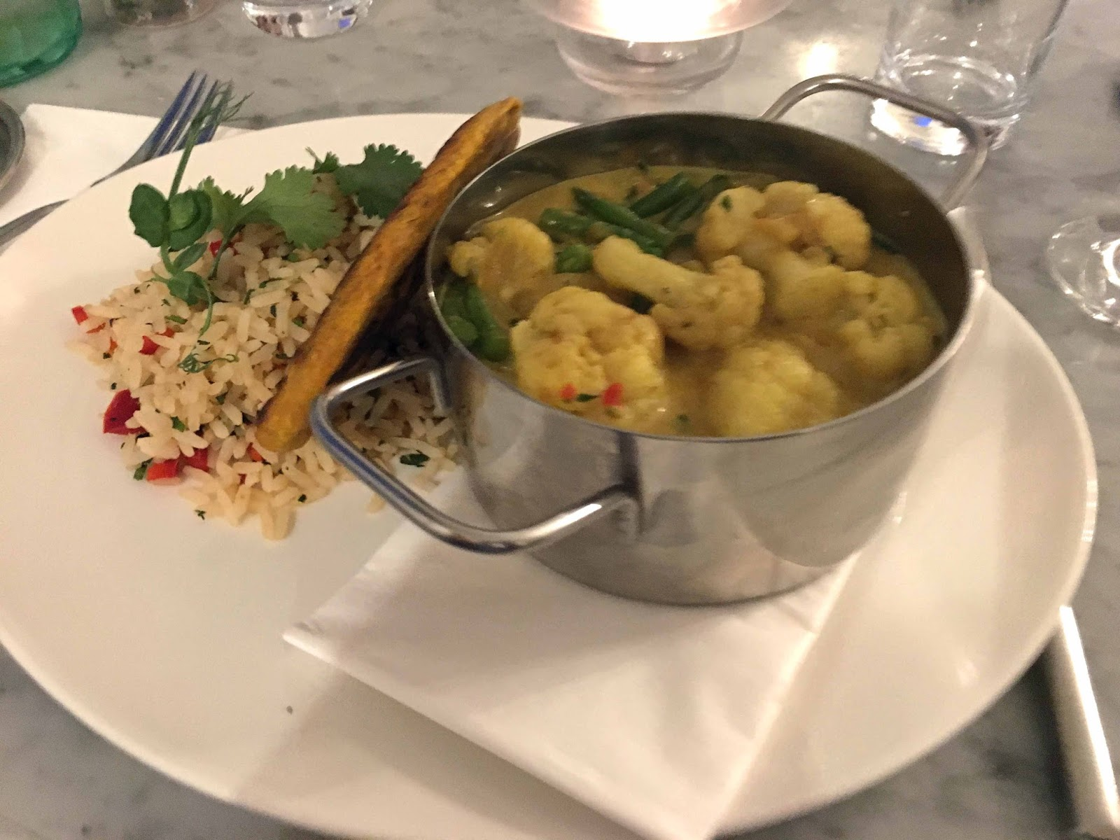 A review of Beck Hall Hotel and Bistro, Malham, Yorkshire Dales. The Secret Garden Bistro, Beck Hall, Malham, cauliflower curry
