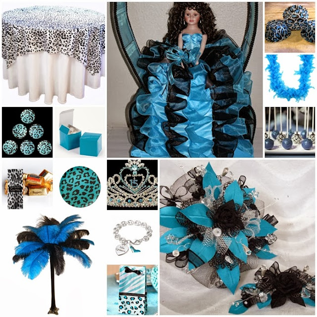 Turquoise & Snow Leopard Print Quinceanera Sweet Fifteen ...  Turquoise & Sno...