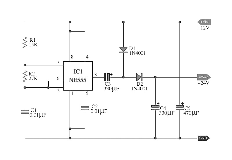 Doubler Voltage with ne555 schematic | Simple Schematic ...