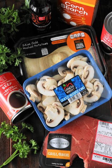 Ingredients to make slow cooker beef tips recipe image