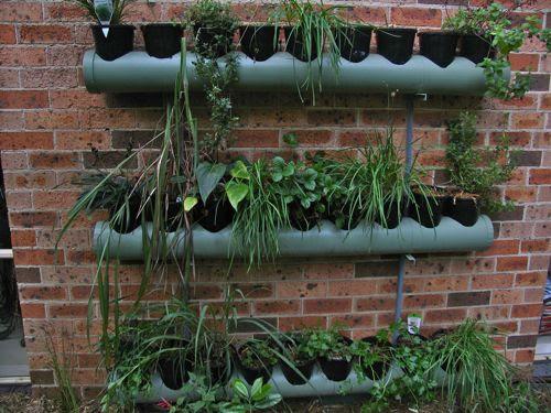 Huerto/jardín vertical hecho con macetas y canalones, así ganamos espacio para las raíces de las plantas