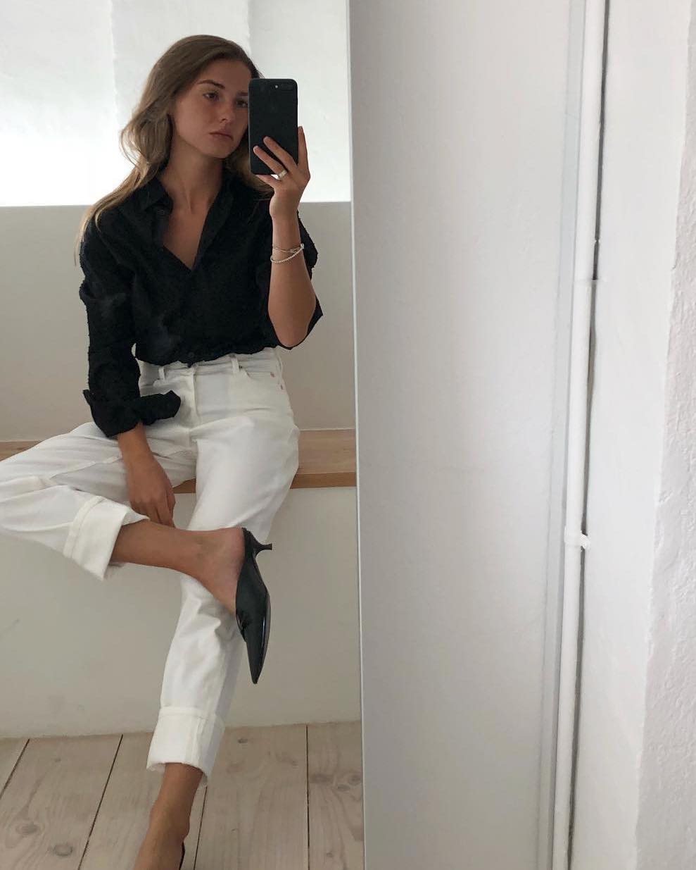 Sophia Roe 3-Piece Spring Outfit Idea — Black Button-Down Shirt, White Jeans, and Black Mules Kitten Heels