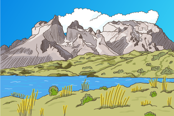 Paisaje montañoso cartoon