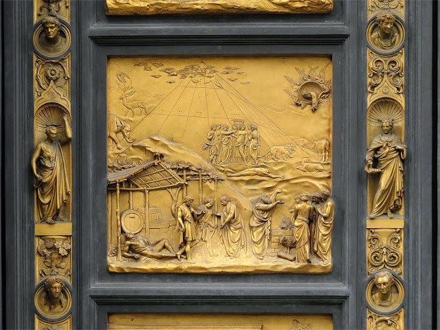 Noah, copy of the original bronze panel of the Gates of Paradise by Lorenzo Ghiberti, Baptistry of Saint John, Florence