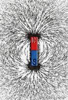 Demir tozu içinde kutupları ve manyetik alanı görünen kırmızı-mavi mıknatıs