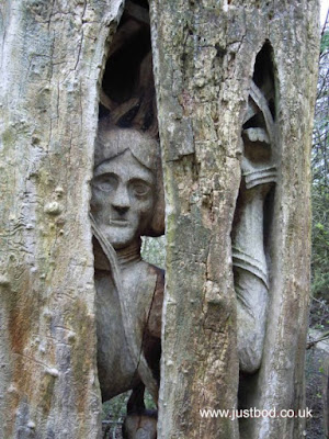 Tree carving, The Forbidden Corner, Middleham, Yorkshire