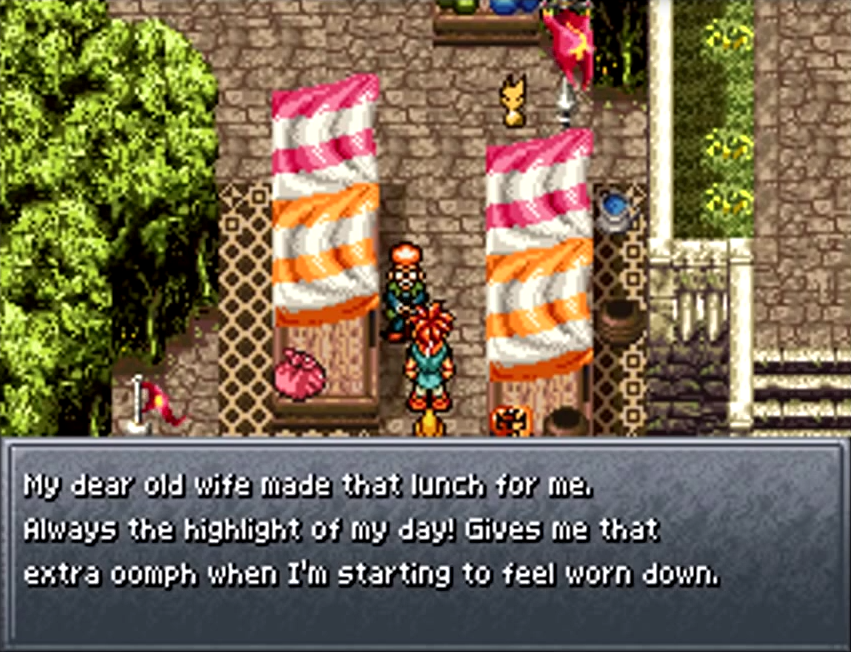 Crono speaks to an old man about his lunch at the Millenial Fair, 1000 AD