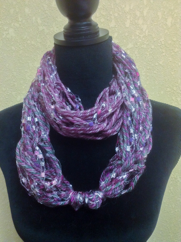Purple Infinity Knot Arm Knitted Scarf @craftsavvy #craftwarehouse #armknitting #scarves #diy
