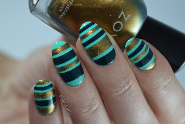 stripes nails green turquoise gold furious filer meebox boho