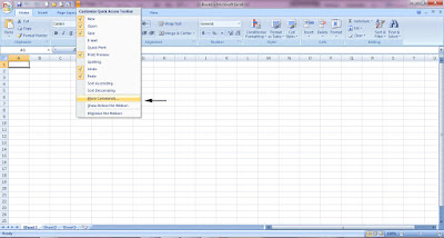 add commands to quick access toolbar in excel
