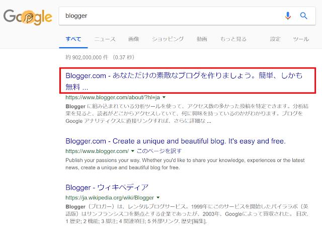 Blogger.comを選択