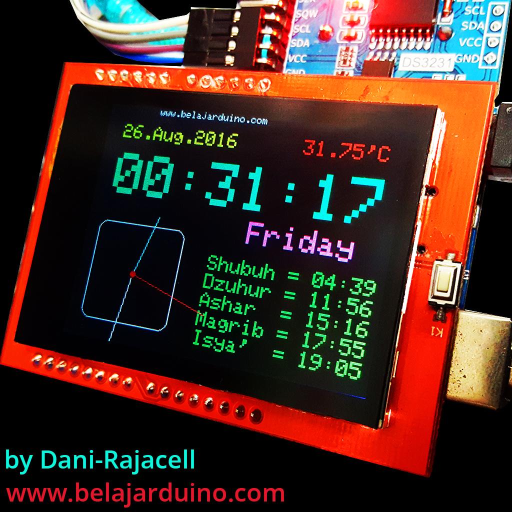 Digital Clock Prayer Times Thermometer Dengan Ds3231 Dan Lcd Tft
