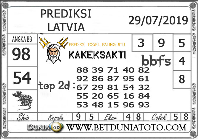 "Prediksi Togel ""LATVIA"" DUNIA4D 29 JULI 2019"