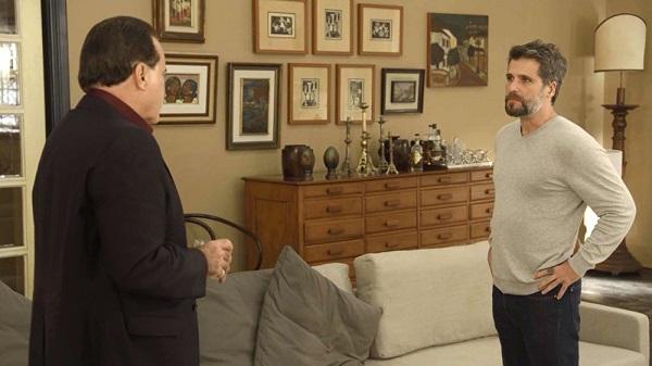Gabriel pede um tempo para pensar se fala da fonte para o povo (Imagem: Reprodução/TV Globo)