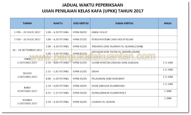 Jadual Peperiksaan UPKK 2017
