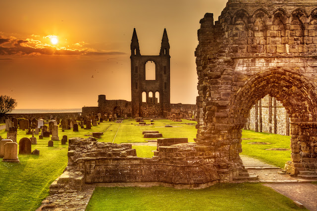 Cathedral at Sunset St.Andrews by John Patrick Pazdziora
