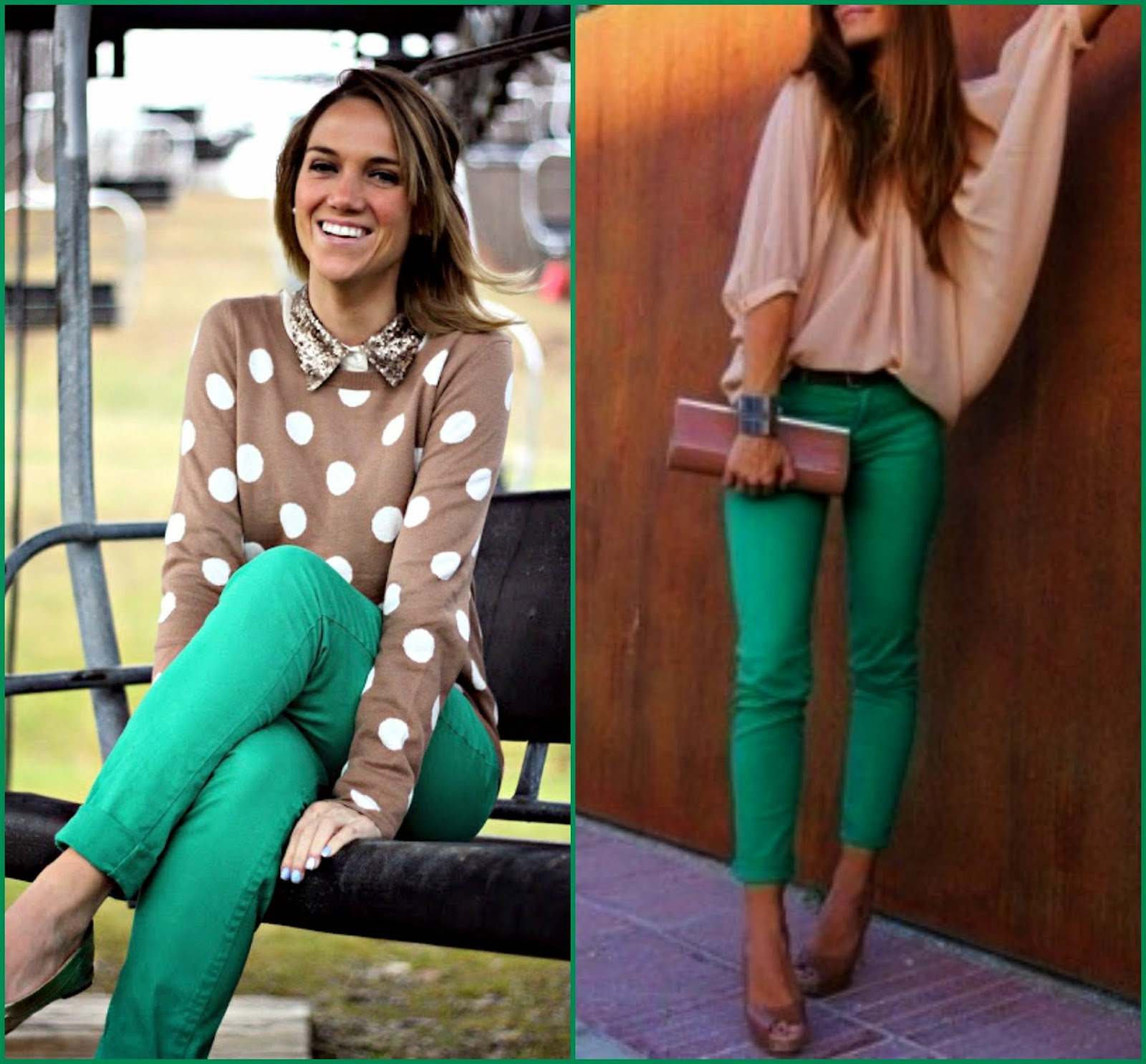Nude tops style with Green pants, how to wear green pants, nudes colours with green pants