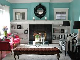 A True Aqua Wall The White Wood Work Plays Down Brightness Of Cheerful Color Black And Striped Couch Pink Chairs Add Nice Playful