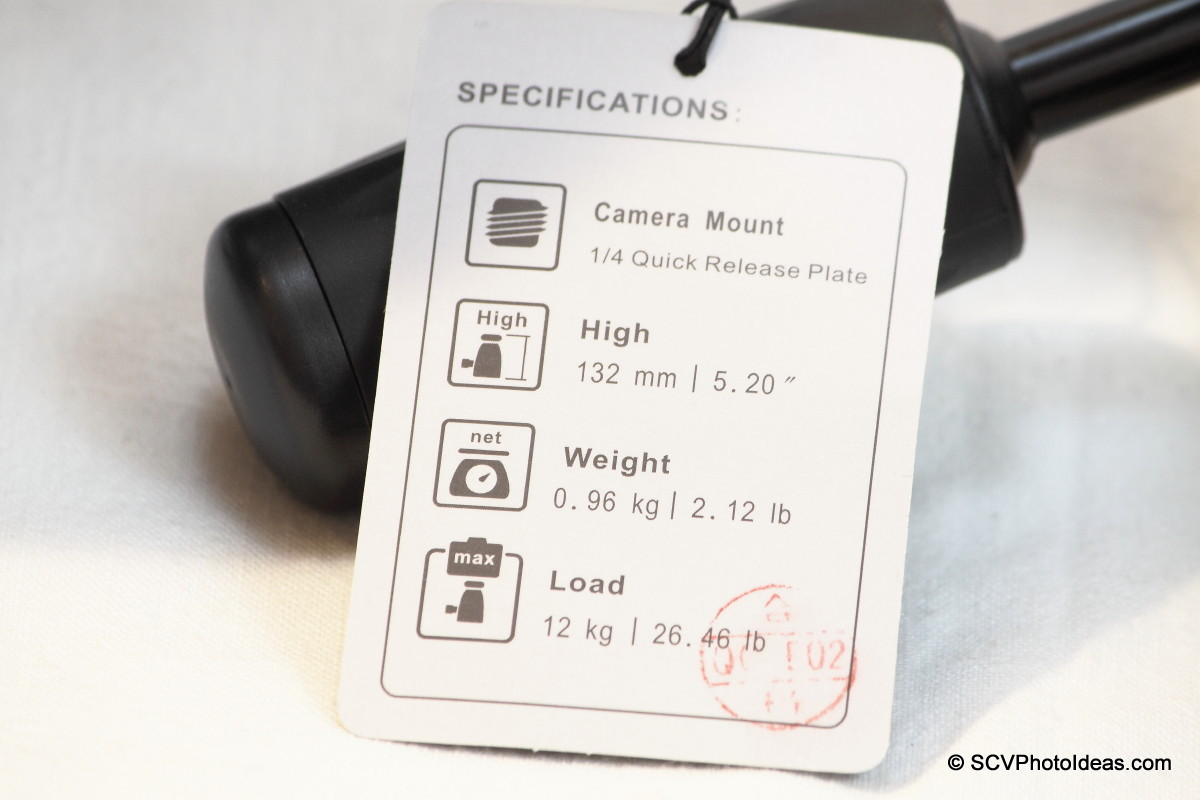 Benro HD-38 specification card