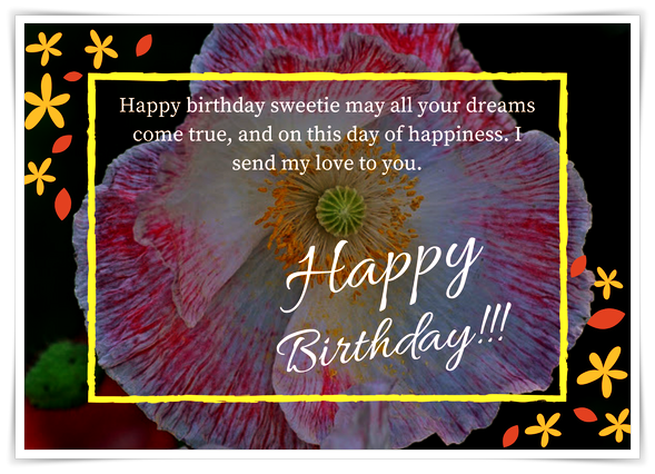 Happy birthday, sweetie, dreams, Flower, Birthday Card, happiness, flower,