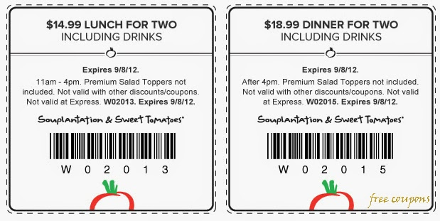 picture regarding Souplantation Printable Coupons named Souplantation coupon lunch 2019