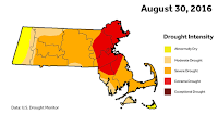 Drought in Massachusetts from the start of summer until the end. (Credit: U.S. Drought Monitor) Click to Enlarge.