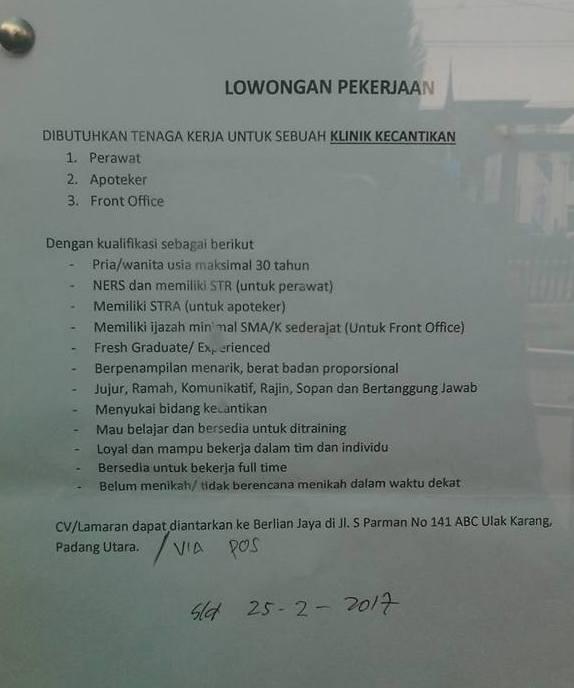 Lowongan Kerja di Padang – Klinik Kecantikan – 3 Posisi (Closed 25-2-2017)
