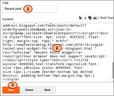 paste recent post widget code in blog