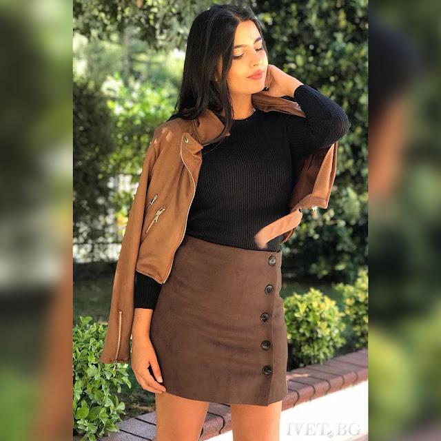 Ψηλόμεση  μεσάτη κοντή καφέ φούστα CIELA BROWN