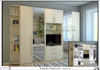 Lemari minimalis modern tv unit Madrid