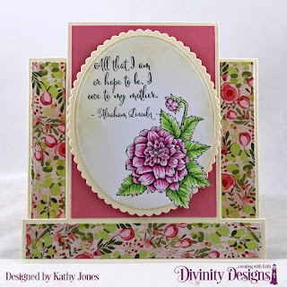 Divinity Designs Stamp Set: Grandmother's Heart, Paper Collection: Pretty Pink Peonies, Custom Dies: Center Step Card, Center Step Layers, Ovals, Scalloped Ovals