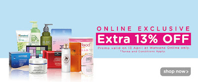 Malaysia Watsons Online Store Extra 13% Discount Promo